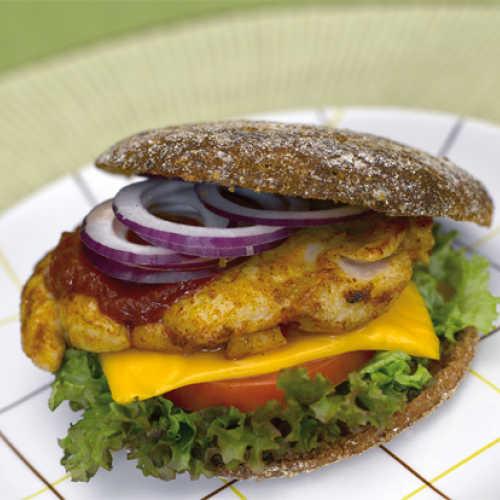 Rukiinen kanaburger ja chiliketsuppi