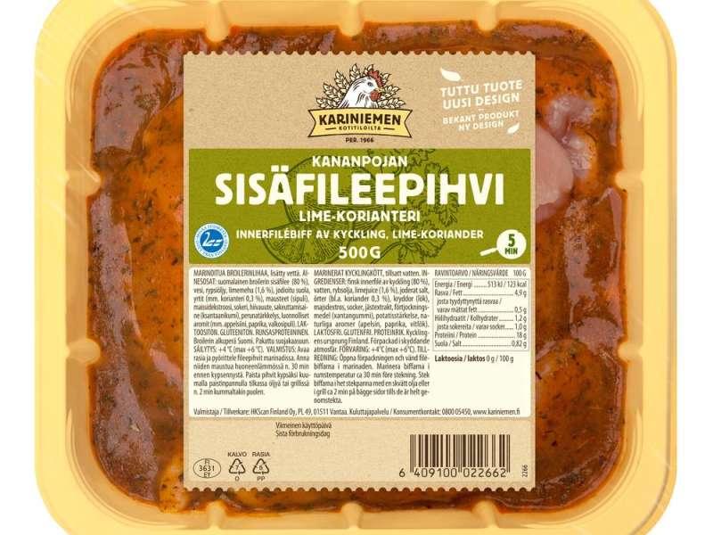 Kariniemen Kananpojan Ohuen ohut fileepihvi lime-korianteri