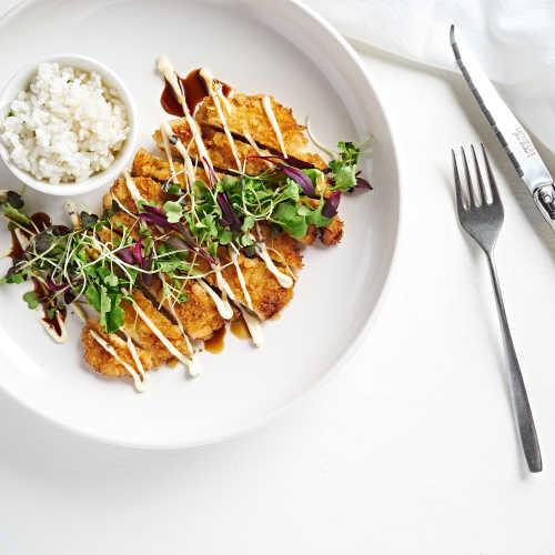Kananpojan schnitzel ja tryffelimajoneesia