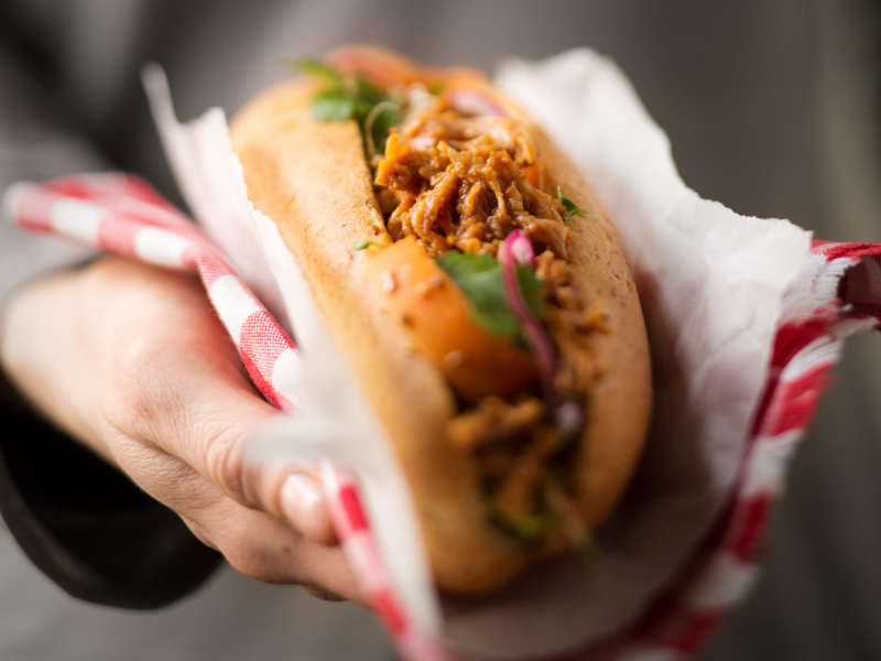 Kariniemen Pulled Chicken hot dog