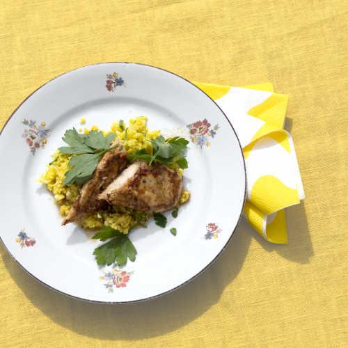 Papaija-sitruuna sisäfileet ja sahramilla maustettu kukkakaali-tabouleh