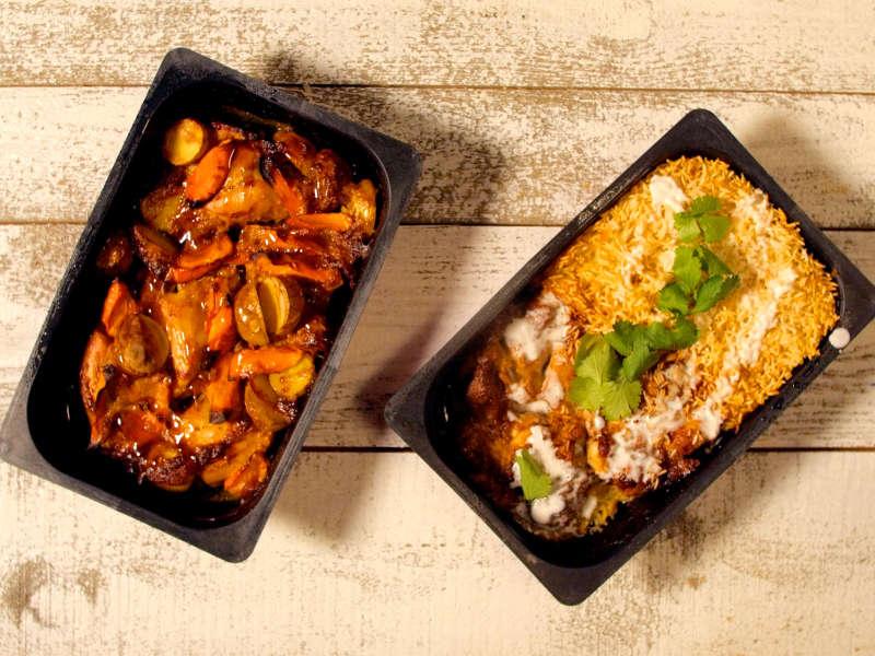 Uunivalmis Kanakorma riisillä ja juureksilla