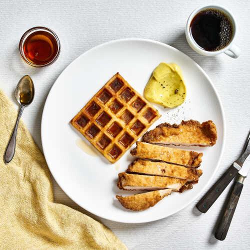 Paistettua kananpoikaa ja vohvelia - all day breakfast