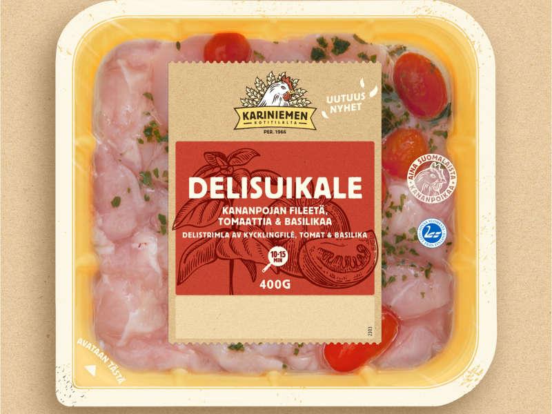 Kariniemen Kananpojan Delisuikale fileetä, tomaattia & basilikaa