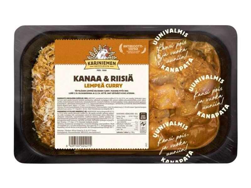 Kariniemen Kananpojan Uunivalmis pata, kanaa ja riisiä lempeä curry